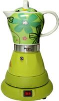 Electric Espressso Cuban Coffee 4 Cups  Ceramic Tops  Color GREEN