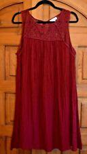 """Liz Lange Maternity"" Women's Red Sleeveless Lace Yoke Dress Size Large"