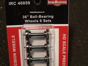 "HO-INTERMOUNTAIN IRC 40059 BALL BEARING WHEELS 36"" 12 PACK BIGDISCOUNTTRAINS"