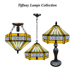 Tiffany style Antique Hexagon Lamp Hand Crafted Stained Glass lighting Shade UK