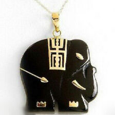 Beautiful Black Agate Onyx 18KGP Yellow Gold Plated Elephant Pendant Necklace