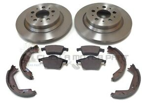 VOLVO XC70 CROSS COUNTRY 2 REAR BRAKE DISCS AND PADS AND HANDBRAKE SHOES