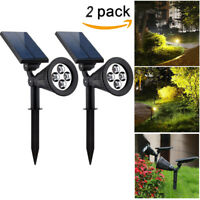 2pcs 4LED Solar Garden Lamp Spot Light Outdoor Lawn Landscape Path Spotlight