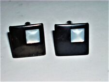 VINTAGE CUFF LINKS JET BLACK GLASS WITH WHITE VASELINE GLASS INSERT