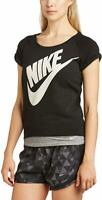 Nike Rally Short Sleeve Lightweight Sweatshirt Womens M Crewneck Cuffed Spellout