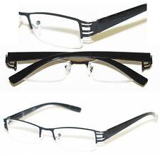 Reading Glasses  BRUSHED METAL Cut-Out BLACK Frame Narrow Lens+2.00
