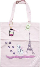 LADUREE Paris New Pink Canvas Tote Bag Dog & Eiffel Tower +Macaron Patch Charm