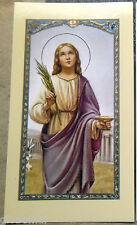 Image pieuse avec prière Sainte Lucie 11,5 cm x 6,5 cm