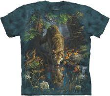 S - 3XL The Mountain Erwachsenen T-Shirt Wölfe, Wolf an verwunschenem Teich