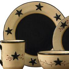 4 Piece Black Star and Berry Ceramic Dinner Plate Set by Park Designs