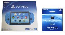 SONY 2015 PS Vita Wi-Fi Console PCH-2000 ZA23 Aqua Blue 64 GB Memory Card set