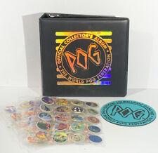 Vtg 1990s POG Collection 179 Milkcaps RARE Official Binder Case Game Pad Bundle