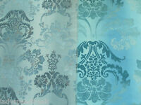 Designers Guild Curtain Fabric KASHGAR 3.5m Zinc - 100% Cotton Damask 350cm