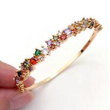 gold Color rainbow bangle bracelet cubic zirconia fashion lady jewelry