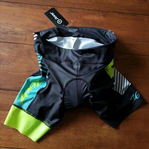 "Zoot Women's XL Cycling Shorts LTD Thick Padding 7"" Black Green White Yellow"
