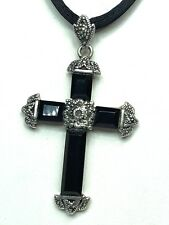 "Sterling Silver Black Onyx 2"" Cross with Marcasite Accents"