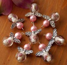 6x ROSA ANGELO CUSTODE Charms Ciondoli Perline Lampwork Fiore Rotondo Argento Ali