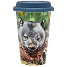 Australia Souvenir Fauna Wombat & Lizard Double Walled Bone China Travel Mug NEW