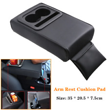 1×Car Armrest Cushion Pad PU Leather Heighten Elbow Bracket w/Cup Holder Storage