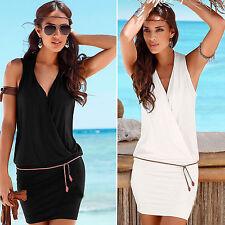 Womens V Neck Short Mini Dress Casual Summer Beach Party Sleeveless Wrap Dress