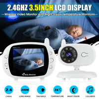 3.5'' LCD Digital Baby Monitor Audio Wireless Video Camera Night Vision Safety!!