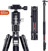 SAMTIAN Camera Tripod, 165cm / 65inches Aluminum Portable Tripod With Monopod °