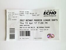 DARTS MEMORABILIA - Premier League Tickets Stub 13/04/17 Liverpool Arena