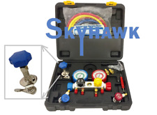 4 Way Manifold Vacuum Gauge Set R134a R410a R22 A/C AC HVAC Refrigeration KIT