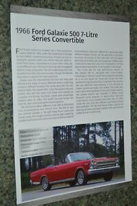 ★★1966 FORD GALAXIE 500 CONVERTIBLE 428 INFO SPEC SHEET PHOTO FEATURE PRINT 66★★