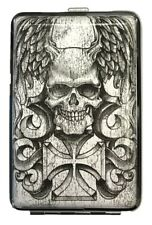 Eclipse White Skull Design Crushproof Metal Leatherette Cigarette Case, Kings