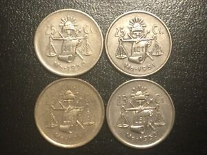 Set of 4 25 Centavos Coins 1950-1953 Mexico Silver Plata