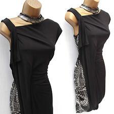 Karen Millen Black Grey Sexy Jersey Draped Geometric Cocktail Party Dress 12 UK