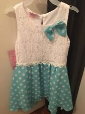 Young Hearts Girl Dress With Flower And Polka Dots Size 6