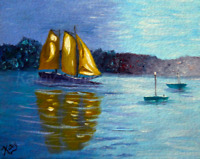 Aceo art card, sailboats nautical 2.5x3.5 print of painting, miniature artwork