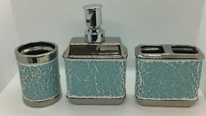 Bathroom Set 3 Pieces Soap Dispenser, Toothbrush Holder, Glass Teal Mosaic MINT
