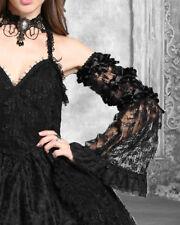 Dark In Love Womens Black Gothic Lace Arm Sleeves Gloves Steampunk VTG Victorian