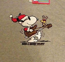 Peanuts Snoopy & Woodstock Christmas T-Shirt SS Rockin Holiday Gray Mens Large