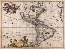 1658 VISSCHER MAP NORTH AMERICA AND SOUTH AMERICA VINTAGE POSTER PRINT 2875PY