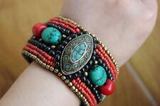 BR427 Vintage Tibetan Turquoise 4cm Adjust Bangle Handmade Nepal Women Bracelets