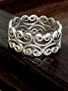 Vintage 925 Sterling Silver Ornate Filigree Swirl 8mm Band Ring Size 5.5, 2.4g