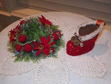 """VTG RED FELT SANTA BOOT & CANDLE RING ARTIFICIAL POINSETTIA HOLDS 3"""" CANDLE"""