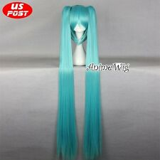 Vocaloid Hatsune Miku Cosplay Light Blue Cosplay Wig + 2 Long Straight Ponytails
