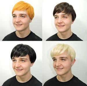 Mens Short Wig Fancy Dress Boy Band Costume 60s 70s 80s 90s Brown Ginger Blonde
