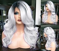 USA: Human Hair BLEND Ombre Gray Silver Swiss LACE FRONT WIG Wavy Dark Root Heat
