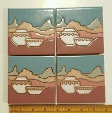 "Mesa Pots 4"" Arius Ceramic Tile Coasters Signed Santa Fe Art Pottery 1991 Set/4"