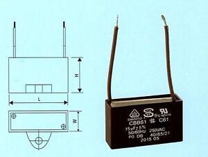 CBB61 / C61 Fan Motor Capacitor 15uf 250VAC 2 Wire