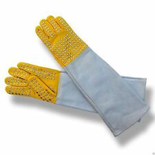 4Fit™ Snake Catcher Gloves, Heavy Duty Reptile Lizards Leather Gloves Yellow
