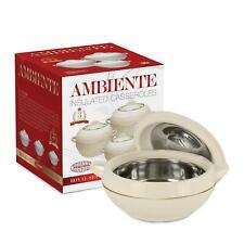 3pc isolé profonde cocotte Hot Pot Set Food réchauffement serving dish pot blanc Amb