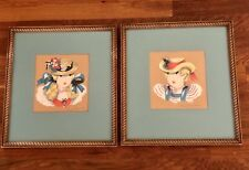 Mid Century Margo Alexander Folk Art Framed Prints Ladies With Hats Vintage Art