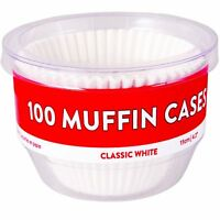100 x Large 8cm Muffin Cases Classic White Baking Cupcakes Grease Proof Cake